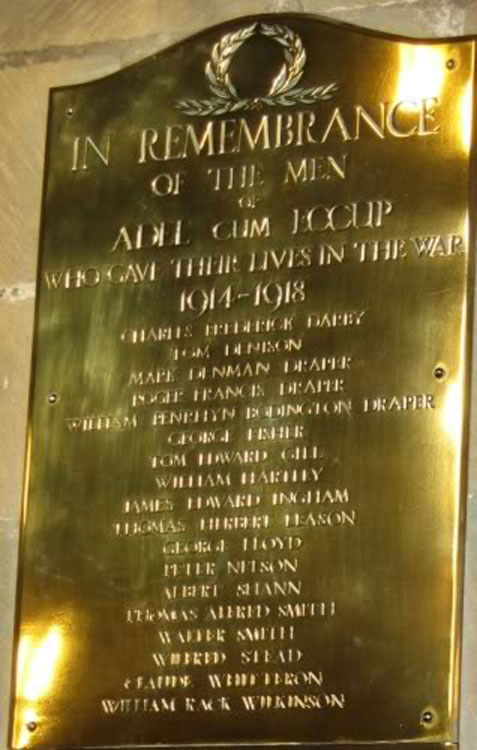 The First World War Roll of Honour in St. John's Church, Adel (Leeds)