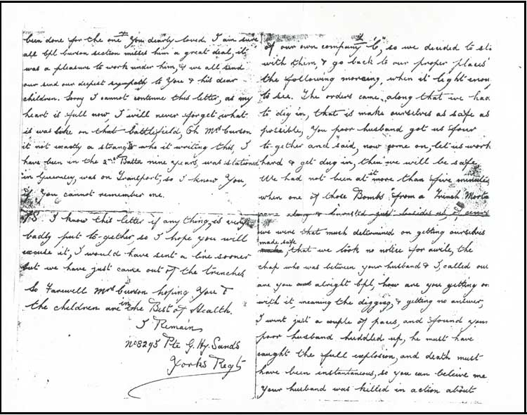 Private Sands' letter describing the circumstances of Arthur Curson's death. A transcript of this letter is given below;-