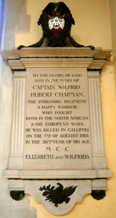 The Memorial to Captain Wilfred Hubert Chapman in the Church of St. Mary Magdalene, Barkway (Herts)