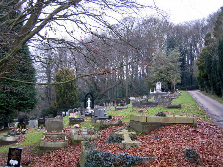 Belper Cemetery, showing the family grave of Charles Spencer and his parents in the right foreground.
