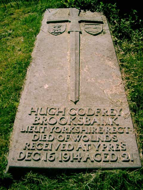 The grave of Lieutenant Hugh Godfrey Brooksbank in the churchyard at Healaugh