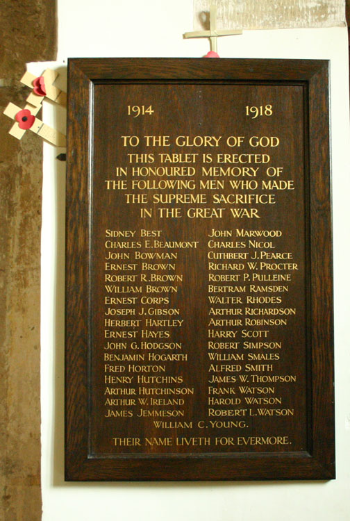 The First World War Roll of Honour in St. Agatha's Church, Easby.