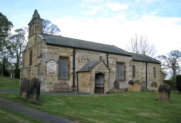 St. Oswald's Church, East Harlsey,  where Herbert Norman Constantine's memorial window is on the far left at the south western corner of the church.