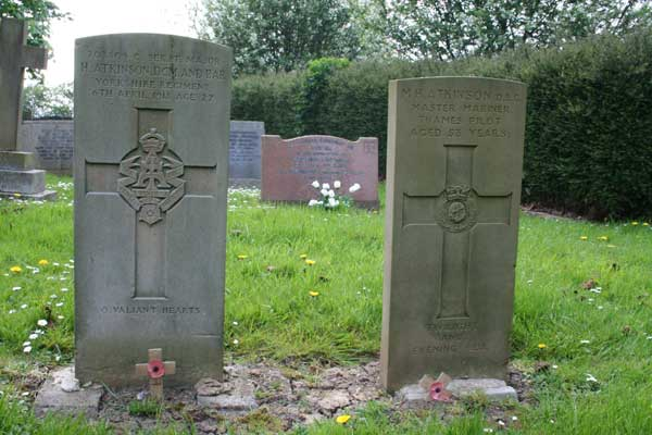 he grave of Coy Sgt Major H Atkinson, DCM & Bar, in the Churchyard of St. John the Baptist Parish Church, Egglescliffe