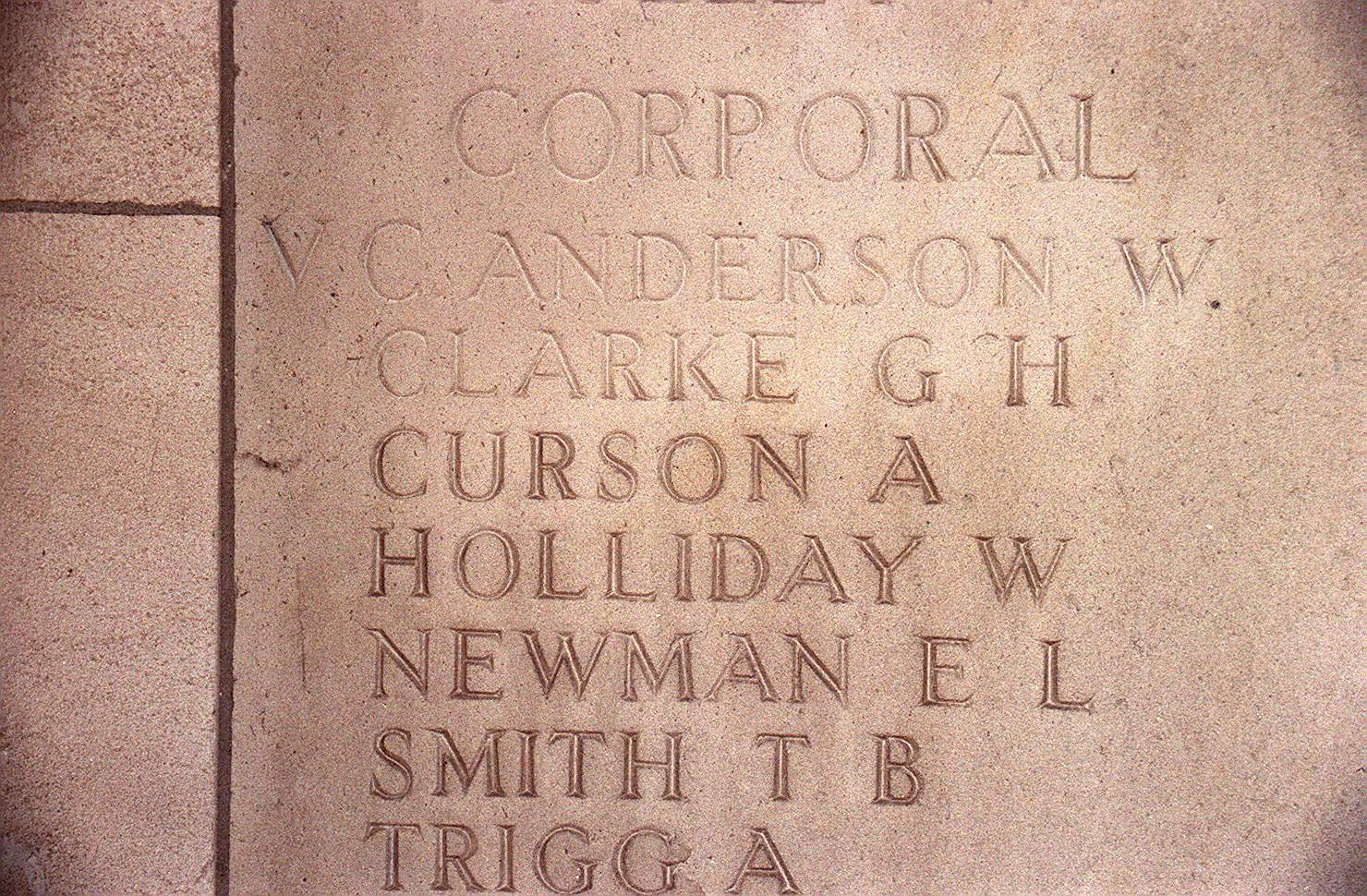 The panel with Corporal Arthur Curson's name carved on it