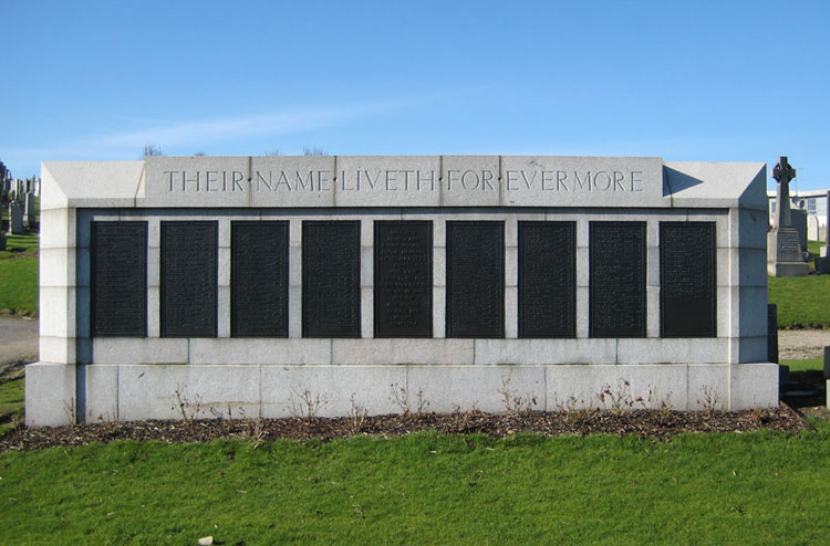 The Screen Wall in Aberdeen (Trinity) Cemetery on which the names of those buried in the cemetery are recorded, together with plot numbers.