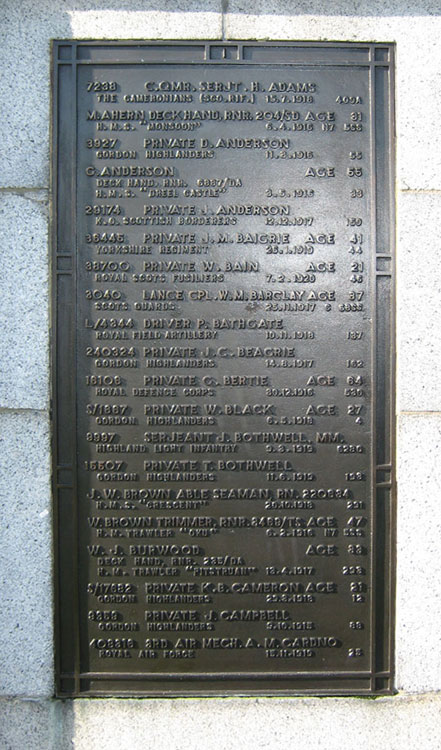 The Plaque on the Screen Wall bearing Private Baigrie's Name