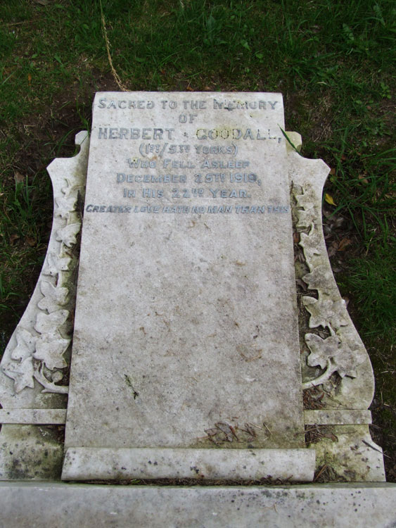 The headstone for Private Herbert Goodall.