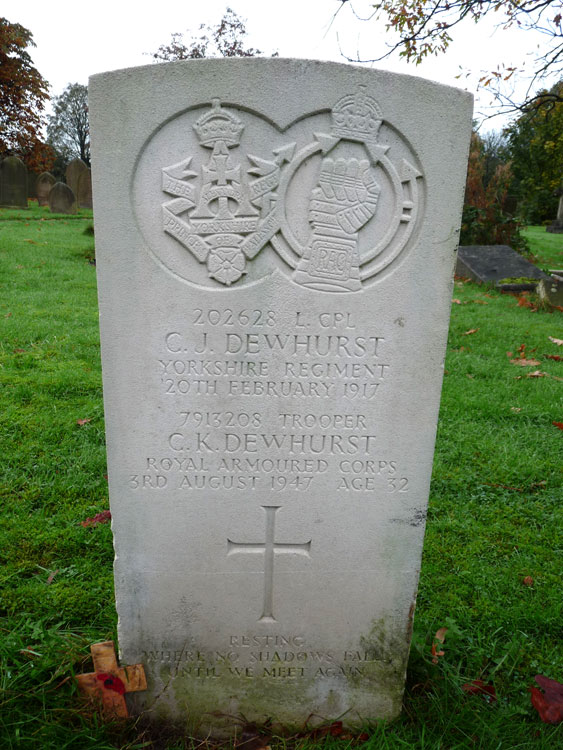 The Dewhurst Father and Son Headstone