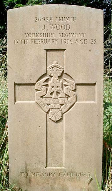 The headstone for Private Joseph Wood