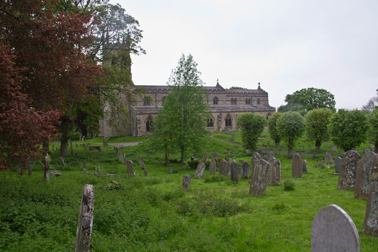 St. Andrew's Church, Aysgarth, as seen from the Lodge Family graves (South West part of churchyard)