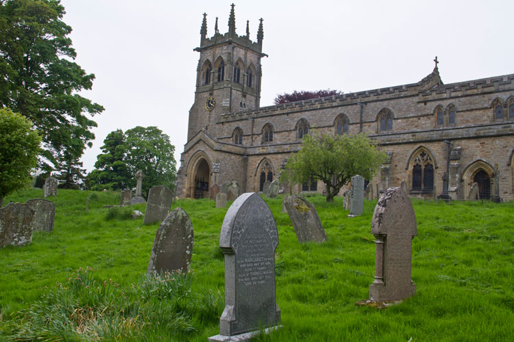 St. Andrew's Church, Aysgarth, as seen from the Spence Family grave (South East part of churchyard)