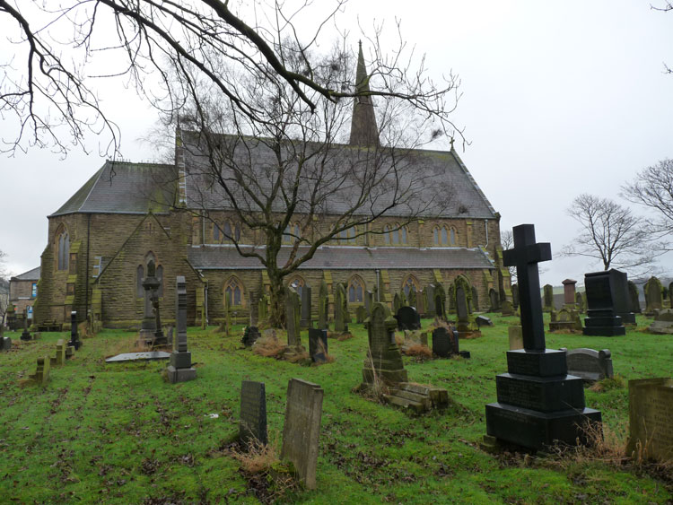 St. John the Baptist Churchyard and Church, Baxenden. Private Johnson's Headstone in the right foreground.