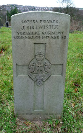 Private Birtwistle's headstone