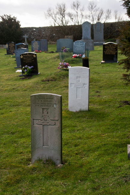 The headstones of Driver Kipling and Private Vickers (white) in Bowes and Gilmonby Cemetery