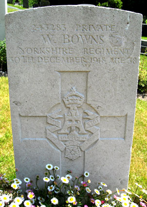 Private Bowns' Headstone in Dover (St. James') Cemetery