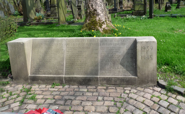 The Memorial Kerb behind the Cross of Sacrifice - Bradford (Undercliffe) Cemetery
