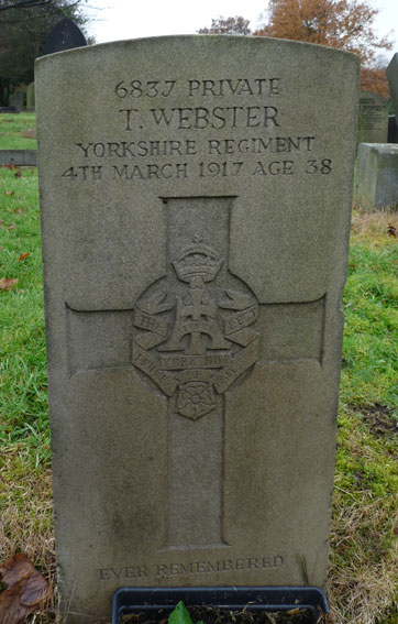 Private Webster's headstone in Burnley Cemetery