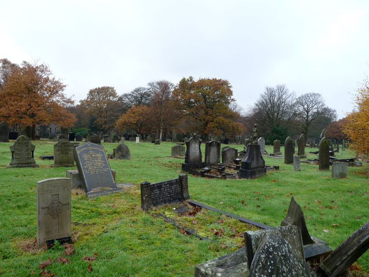 Private Webster's headstone in Burnley Cemetery - left foreground