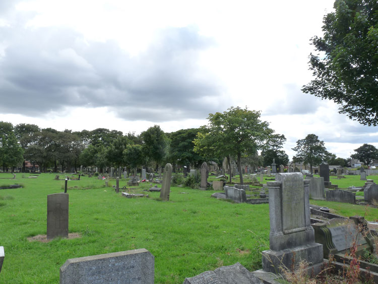 Corporal Twizell's headstone, - left foreground, in Newcastle-upon-Tyne (Byker and Heaton) Cemetery