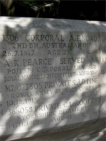 Privare Rootes' Name on the Screen Wall in Chiswick Old Cemetery