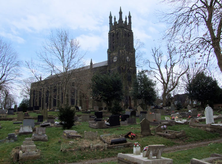 A view of Coseley (Christ Church) Old Churchyard from the North West
