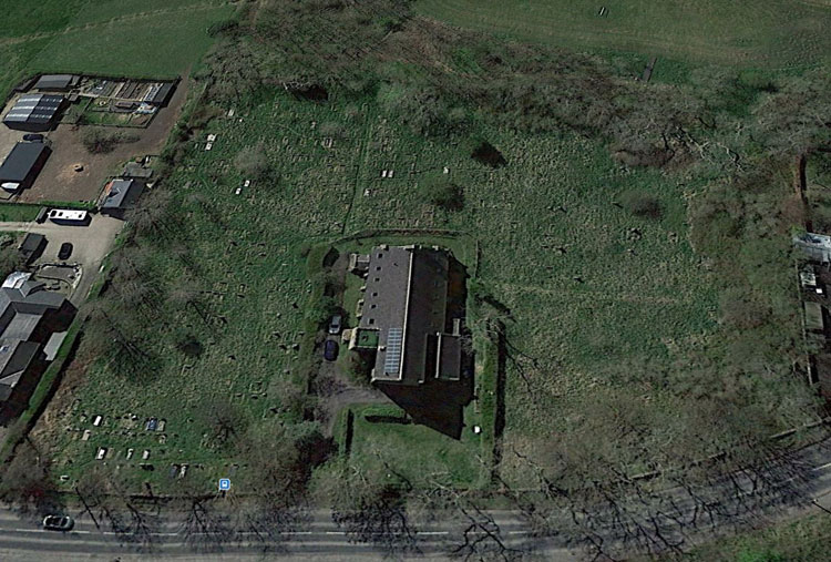 The Satellite view of St. Thomas' Church and Churchyard in Craghead.