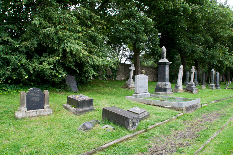 The section of Crook Cemetery in which Private English's headstone is found (on the left, under the tree)