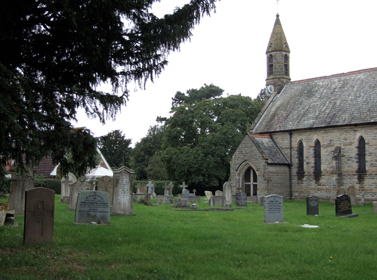 Dalton (ST. John) Churchyard, with Private Green's headstone on the left.