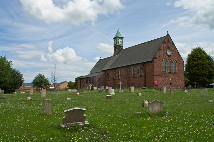 St. Paul's Church, Deaf Hill (Co. Durham) showing the scattered Commonwealth War Graves in the churchyard