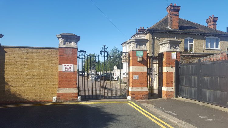 The Entrance to East Ham (Marlow Road) Jewish Cemetery, - Closed on Saturdays (see above)