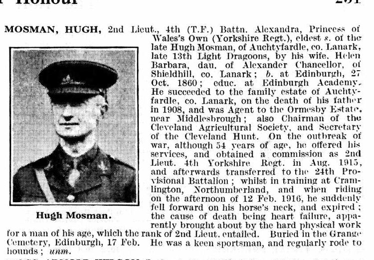 The entry for Lieutenant Mosman in De Ruvigny's Roll of Honour
