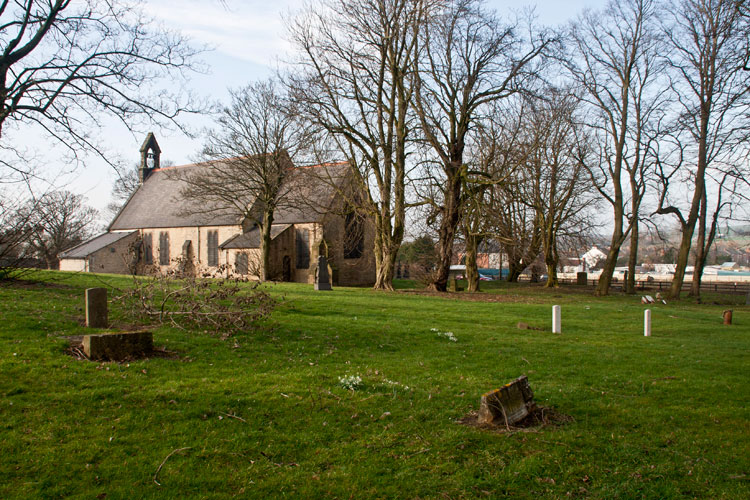 St. Mark's Church, Eldon and the Eastern part of the churchyard. Private Jackson's headstone is almost in the centre.