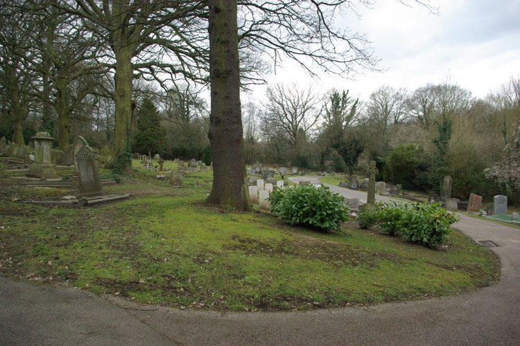The plot in Enfield Lavender Hill Cemetery in which Sidney Starr is buried. It is the open patch of ground in front of the tree and with the war graves plot behind it.