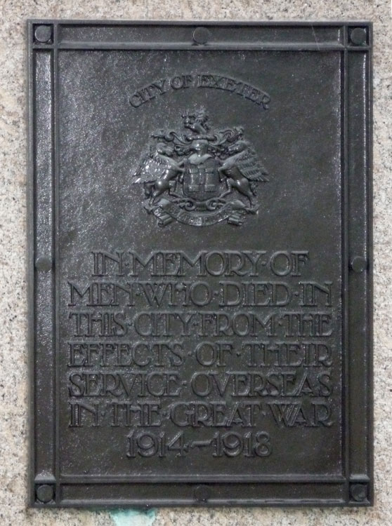 The Commemoration on the War Memorial in Exeter Higher Cemetery