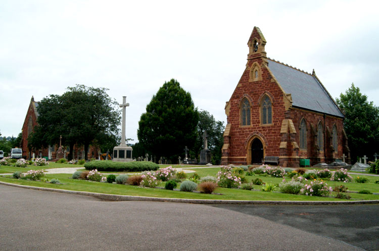 The Two Chapels and the Commemorative War Memorial in Exeter Higher Cemetery