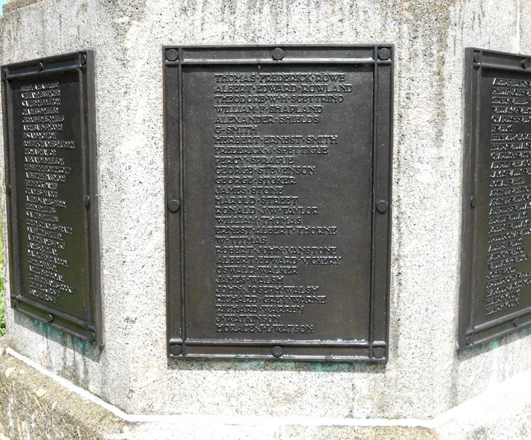 Private Spettigue's Name on the War Memorial that Commemorates Those Buried in Exeter Higher Cemetery