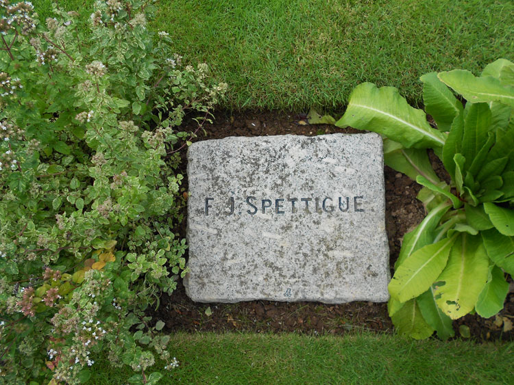 The Commonwealth War Grave headstone for Private F J Spettigue of the Yorkshire Regiment