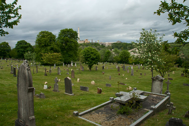 A view of Ferryhill Cemetery, looking East from the Main Entrance