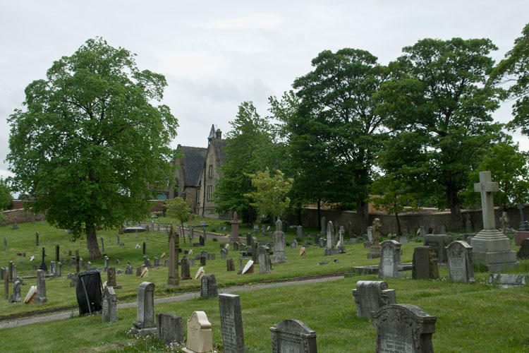 A view of Ferryhill Cemetery, looking towards the Main Entrance