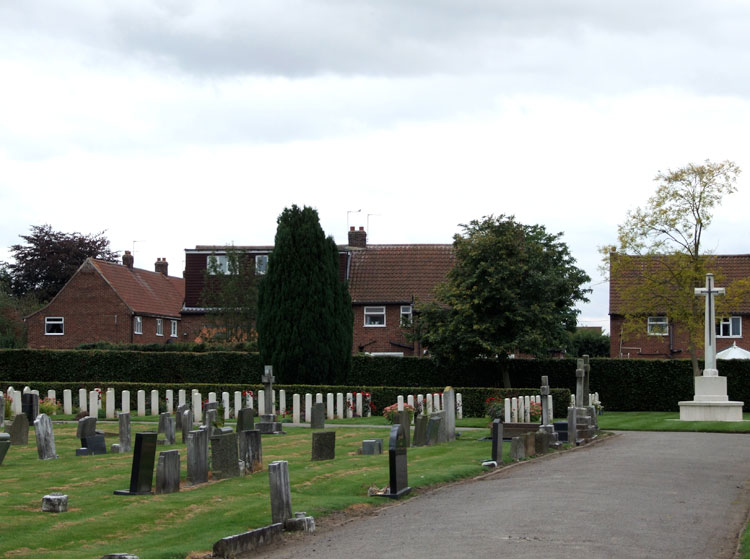 Fulford Cemetery, - the Cross of Sacrifice and the War Graves Plot.
