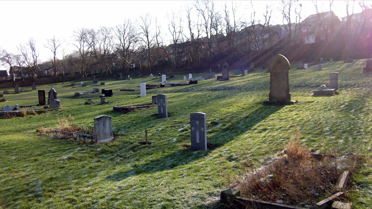 A view of Gateshead East Cemetery, with Private Vinton's headstone in the centre foreground.