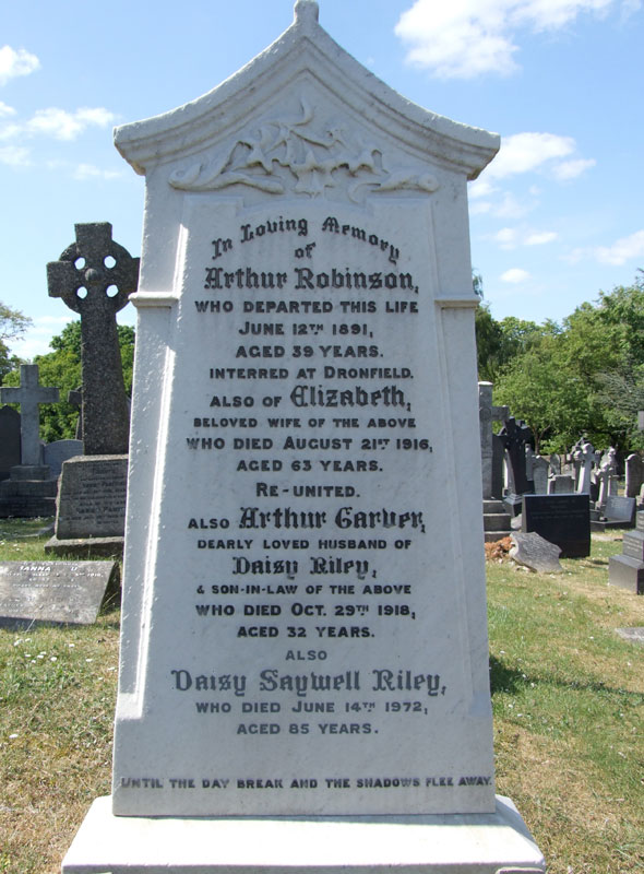 The Family Grave of the Robinsons in Nottingham Church Cemetery, in which Private Arthur Carver Riley is interred