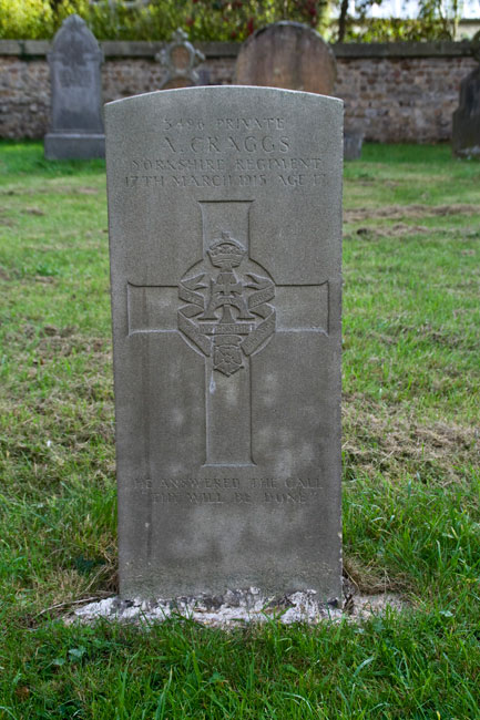 The grave of Private Albert Craggs in the Churchyard of St. John's, Mickley