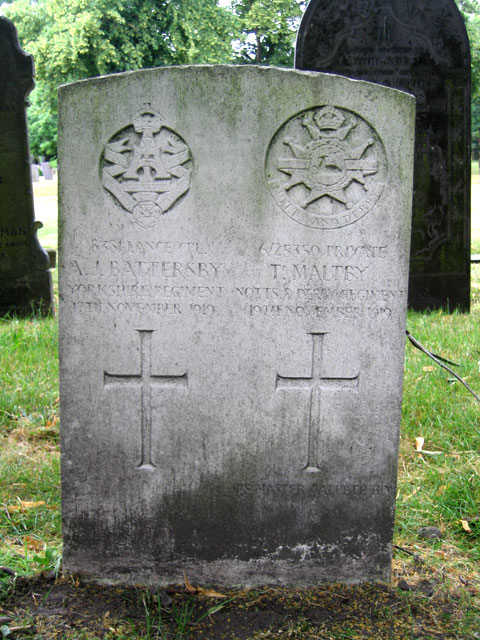 The Headstone for L/Cpl A J Battersby in Nottingham General Cemetery