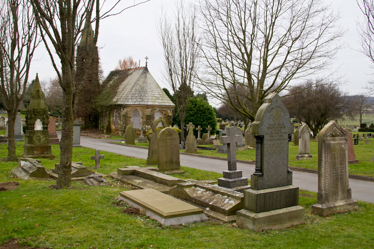 The Richardson Family Grave (foreground) in Guisborough Cemetery.