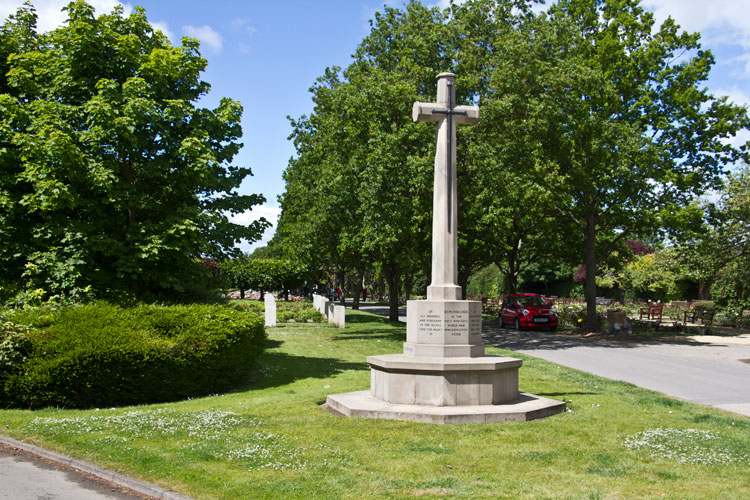 The Cross of Sacrifice by the Main Entrance to Hartlepool (Stranton) Cemetery