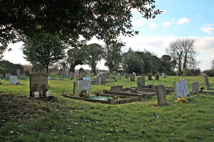 Horsington (All Saints) Churchyard, - Private Longthorn's grave can be seen left of centre.