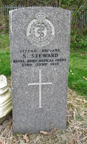 Private Samuel Steward. 137740. 16th (Cork) Coy. Royal Army Medical Corps, formerly 30300 the Yorkshire Regiment. Son of Mrs. A. Steward, of 19, Francis St., East Hull. Died at home 23 June 1918.