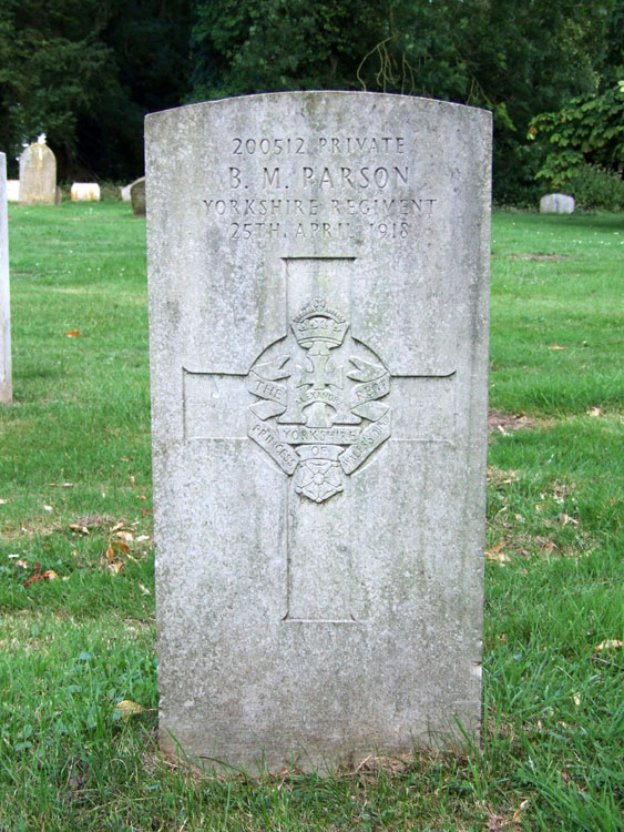 Private Parson's Headstone in Ingham (St. Bartholomew) Churchyard.